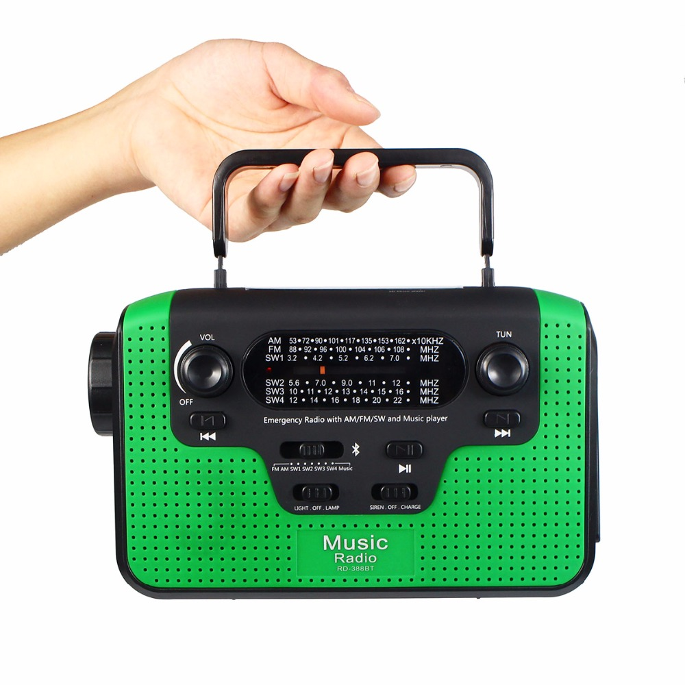 Portable Radio Hand Crank Emergency Radio FM/AM/SW Receiver Bluetooth Speaker Flashlight Cellphone Charger Reading Lamp Y4380G outad protable emergency hand crank charger 3led flashlight generator solar am fm wb radio waterproof emergency survival tools