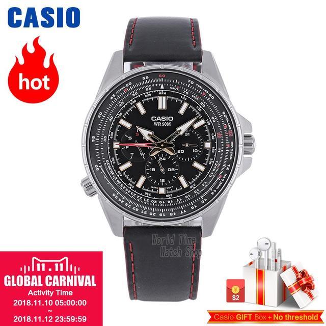 c6d5acdca7b Casio Casio relógio masculino moda três olhos MTP-SW320L-1A business casual  relógio de