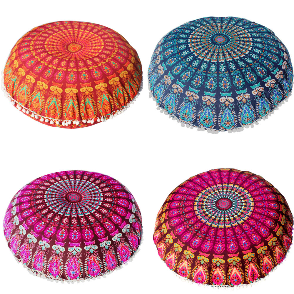 Selfless Comfortable Soft Home Basic Pillow Large Mandala Floor Pillows Round Bohemian Meditation Cushion Case Cover Ottoman Pouf Circle To Ensure A Like-New Appearance Indefinably Bedding Pillow Case