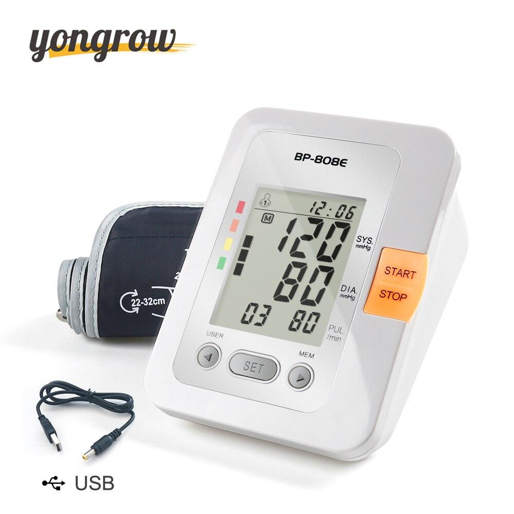 Yongrow Digital Lcd Upper Arm Blood Pressure Monitor Sphygmomanometer Heart Beat Meter Machine Tonometer for Measuring