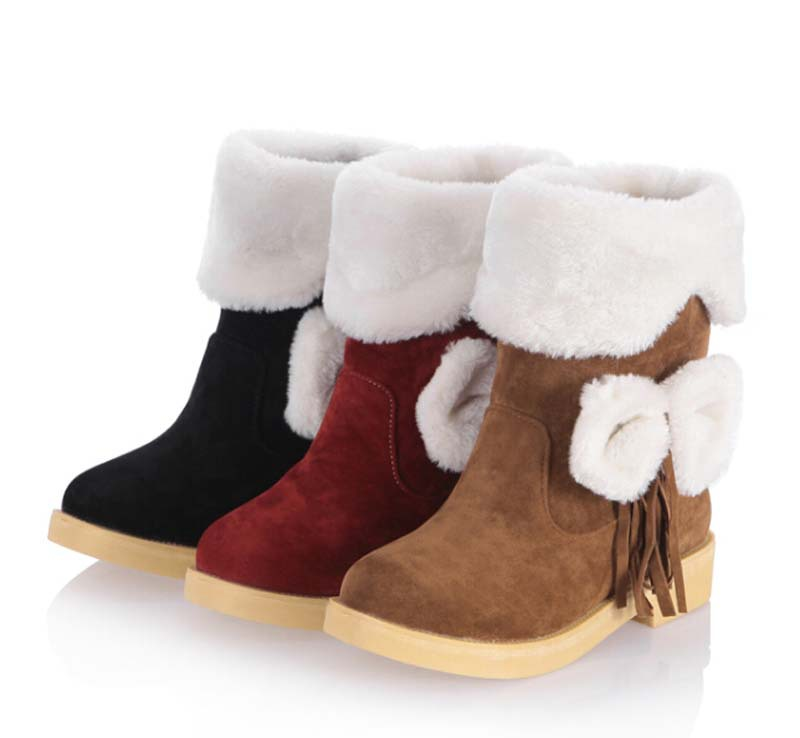 high quality nubuck leather new ankle boots round toe fashion platform winter boots for women warm fur bow snow boots