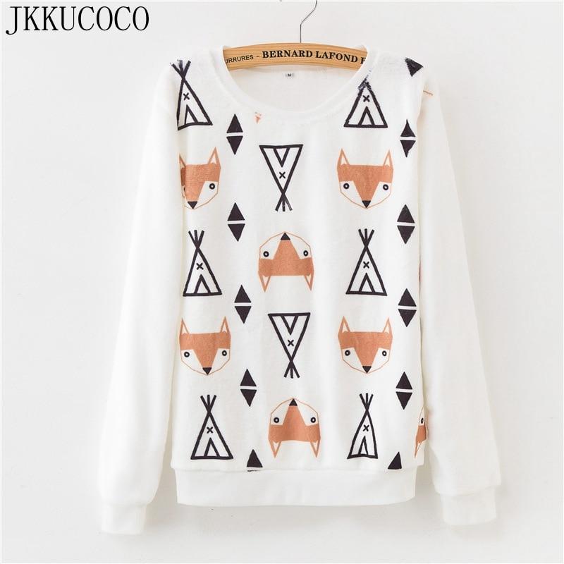 JKKUCOCO Newest Women Sweatshirt Fox Cat Print Hoodies Long Sleeve O neck Flannel Pullovers Hot Animal