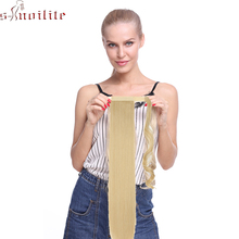 S-noilite 26 Synthetic Long Straight Drawstring Ponytail Clip In Hair Extensions For Women Wrap Around Fake Hairpieces