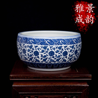 High temperature burning hand made craft blue and white ceramic plant pot