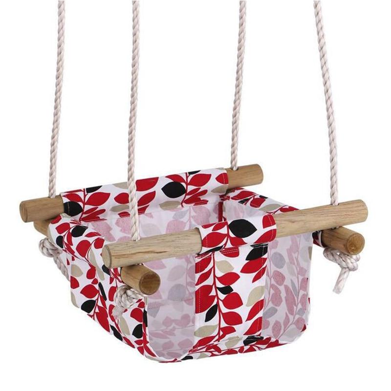 Toile et bois bébé bambin sécurité chaise suspendue balançoire siège intérieur et extérieur jouet balançoire hamac livraison gratuite - 4