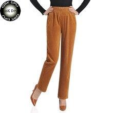 30a8ae6ca6 Moda elástica de alta cintura lápiz pantalones de pana para las señoras  2018 otoño ocasional trabajo mamá más tamaño 5XL mujeres.