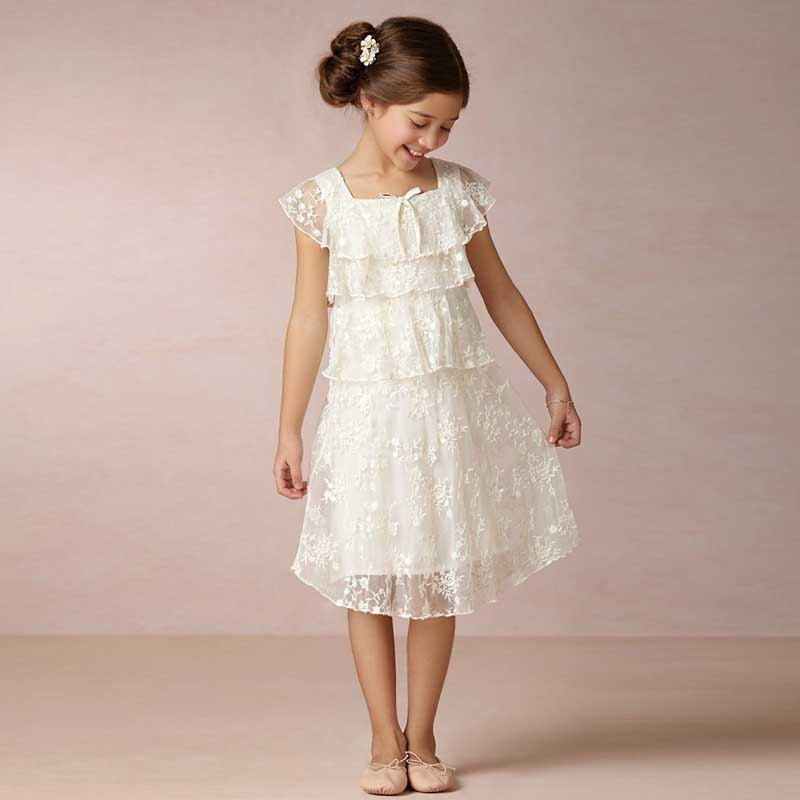 ФОТО New Elegant Pageant Dresses For Little Girls Appliques Tiered Vestidos Comunion Leondo First Communion Dresses Flower Girl Dress