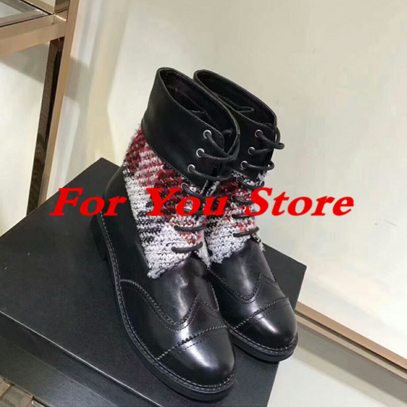 Women Winter Autumn Boots Mixed Color Front Lace Up Round Toe Low Heel Super Star Runway Shoe Luxury Brand Leather Short Booties front lace up casual ankle boots autumn vintage brown new booties flat genuine leather suede shoes round toe fall female fashion