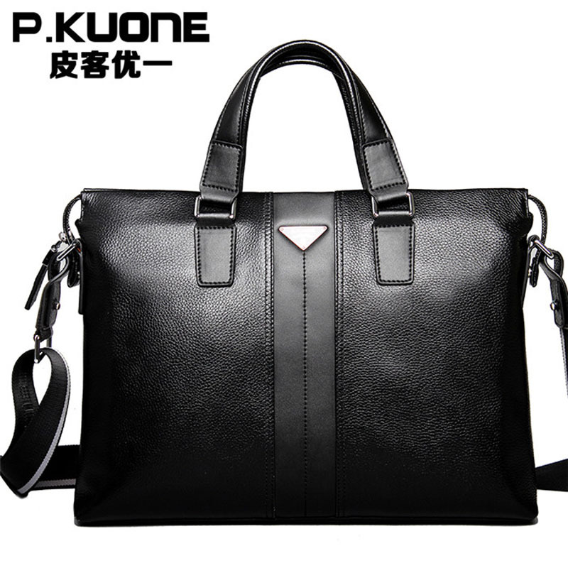 P.kuone Fashion men handbags vintage brown genuine leather briefcase Business Shoulder Bags high Quality laptop briefcase bag