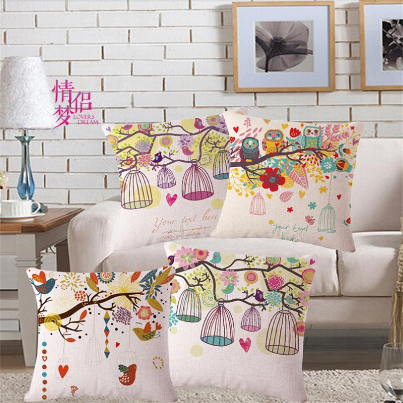 New modern home decorative throw pillow case for sofa home decor cotton linen branch birdcage cushion cover funda cojines 45x45