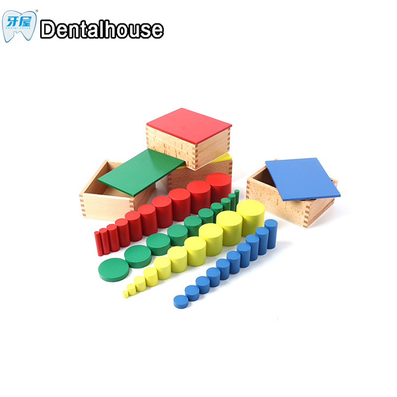 Montessori Educational Wooden Toys For Children Knobless Cylinder Montessori 4 Sets of 10 Cylinders Great Gift for Kids school brand new yuxin zhisheng huanglong high bright stickerless 9x9x9 speed magic cube puzzle game cubes educational toys for kids