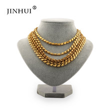Jin Hui African Trendy Golden Necklaces width 5mm Length 50 60cm 2metres fashion Men Women Jewelry friend Birthday present gift(China)