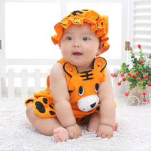 Baby Boys Girls Yellow Tiger Rompers Summer Infants Cute Cotton Playsuit 3 6 9 12 M Months 1 2 Years Toddler Jumpsuit Clothing(China)