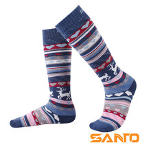 2 Pairs SANTO S075/S076 Outdoor 78% Cotton Ski Socks Kids Childrens Knee-High Sports Quick Dry Warm Fit to Size 28-32