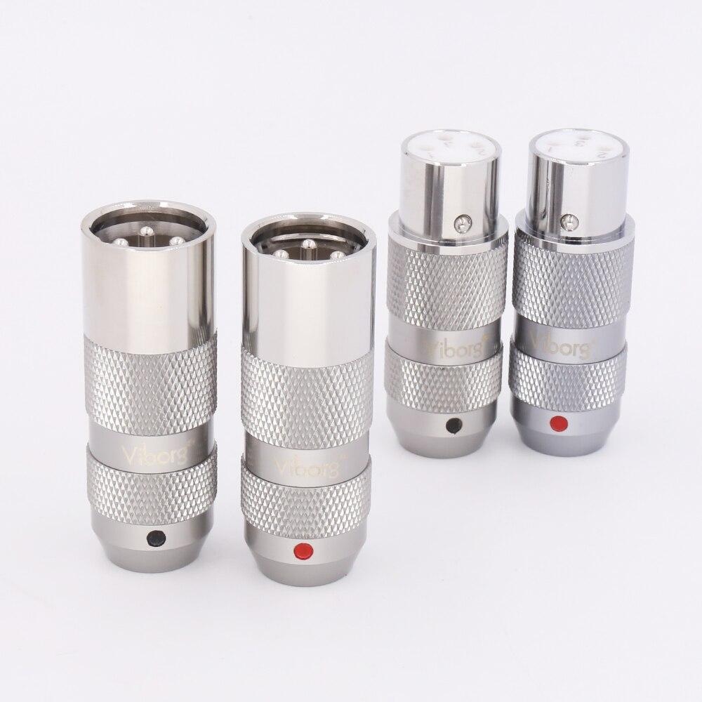 4Pieces Viborg 99 998 pure copper rhodium plated XLR Connector Plug Audio Cable Balance 3Pin