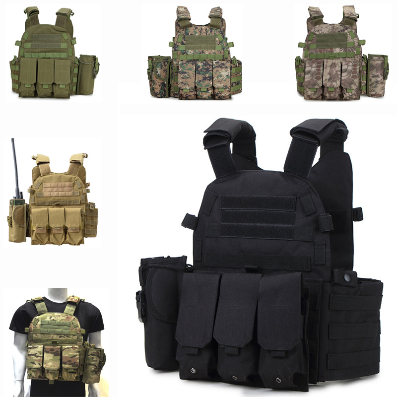 6 Colors Tactical Vest Military Accessories Airsoft Hunting Vest Outdoor Training Combat Protection Vest Camouflage Waistcoat seal tactical vest camouflage military army combat vest for men hunting war game airsoft outdoor sport vest with water bag