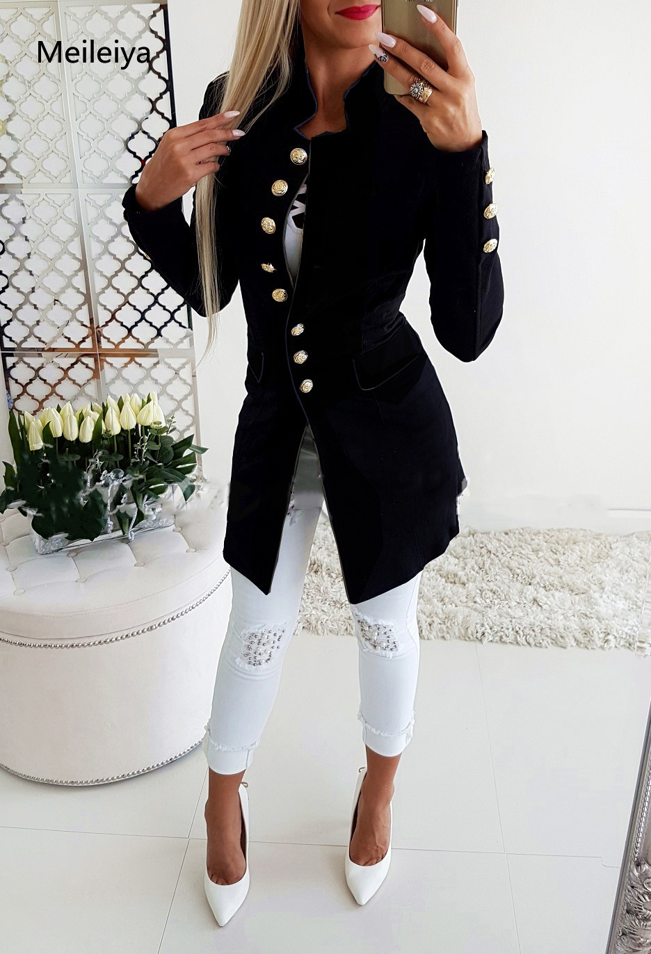 Women's 2019 Spring New Casual Solid Color Long Suit Long Sleeves Buckle Slim Small Suit