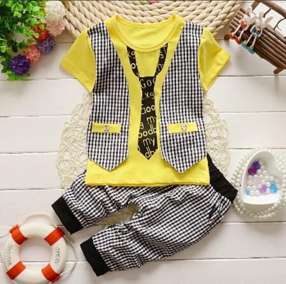 Fashion Baby Boy summer Clothing Set kids Clothes set Gentleman Suit Boys short Sleeve T-shirt