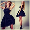 Black Lace Cocktail Dresses Sleeveless A Line Crew robe de cocktail Short Party Gowns Open Back Lace Formal Dress