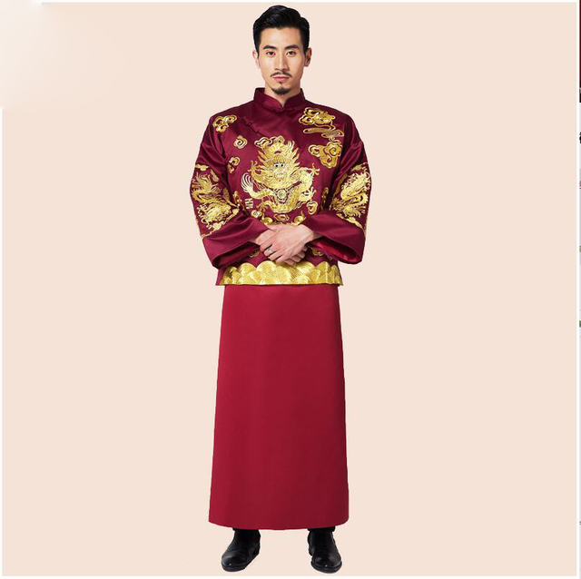 Traditional Costume show chinese style clothes Wine red groom married wedding male show clothing formal evening Gown Robe