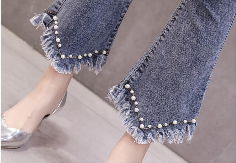 High Waist Women Jeans Flare Pants Tessal Bead Slim Fashion Pants High Waist High Elastic Ankle-Length Denim Trousers 24