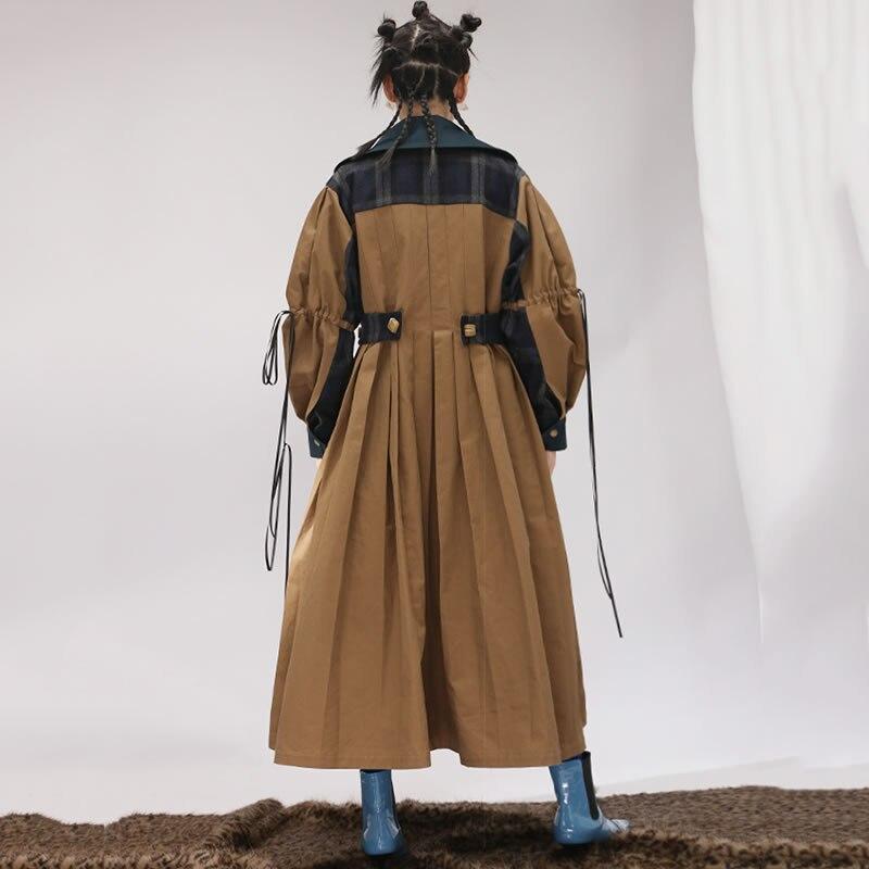 Couleur down Automne 2018 Camel Turn Patchwork Unie Femmes xitao Tranchée Pleine Zll2418 Femme Manteau Lâche Mode Plissée Collar Manches fUvnxnqwI