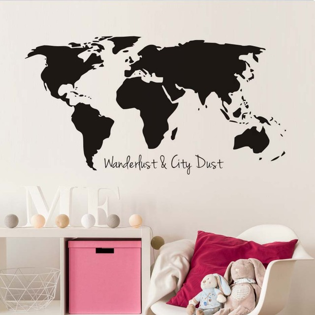 Wanderlust and city dust world map wall sticker for living room wanderlust and city dust world map wall sticker for living room bedroom wall decor removable vinyl gumiabroncs Image collections