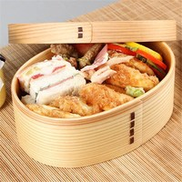 KCASA 1PC Wooden Food Lunch Box Tableware Student Bento Fruit Sushi Boxes Container Japanese Style Kids