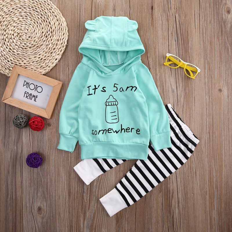 2pcs Cute Baby Clothes Newborn Baby Kids Boy Girl Long Sleeve Letter Hooded Tops Light Green T-shirt Striped Pants Outfit Set kids newborn infant baby girl gifts clothes floral long sleeve tops shirt pants trousers outfit set