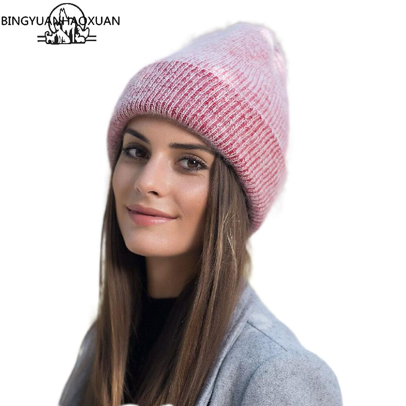 BINGYUANHAOXUAN Winter Women Knit Angola Rabbit Fur Hat Cap Women Winter Warm Beanie Hat Outdoors Sport Skullies Gorro Beanies