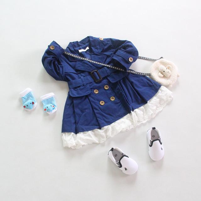 2016 Baby Girl Trench Abrigos Para 3-6Y Niños Sólido Elegante Suave Estilo Europeo Elegante de Moda de Primavera Otoño Invierno de la Alta Calidad