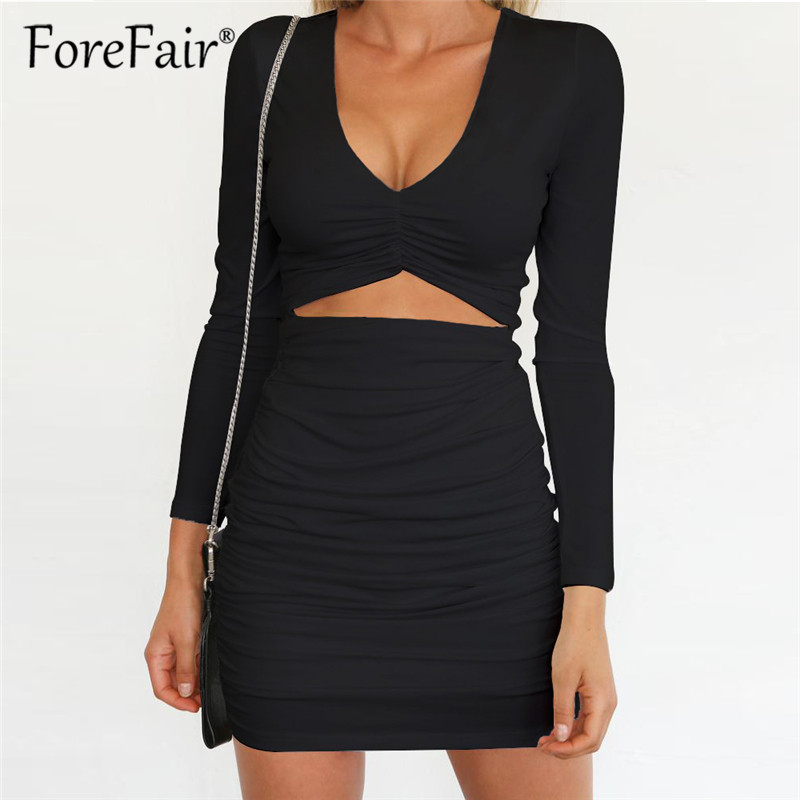 70205196dd19ec Forefair Long Sleeve V Neck Skinny Women Mini Bodycon Dress 2018 Winter  Slim Elastic Sexy Dress