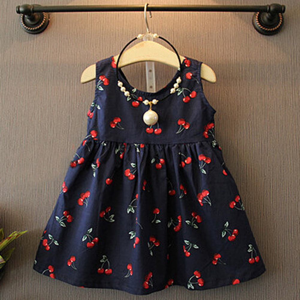Flower     Girls     Dress   Summer Baby Clothes Floral Print Sleeveless Cherry Bow Decor   Dress   for   Girls   Costume Party Vestidos for 1-6Y