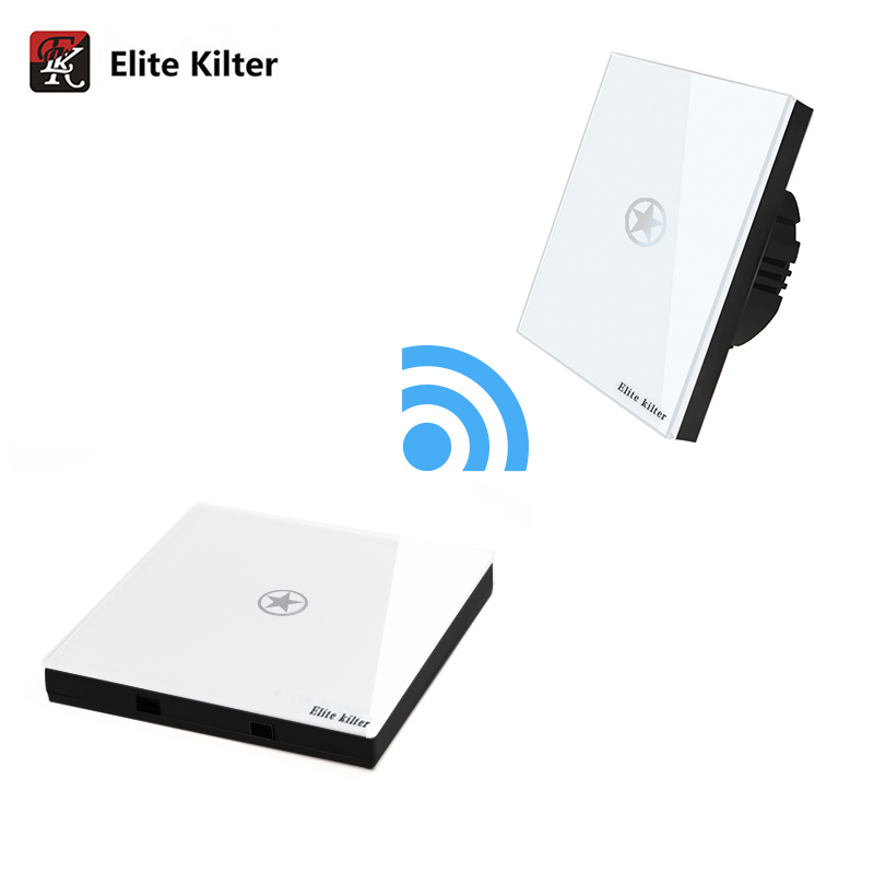 Elite Kilter Luxury Crystal Glass Remote Control Touch Switch For Wall Lights + 1 Gang Wireless Stick Touch Switch EU Standrad