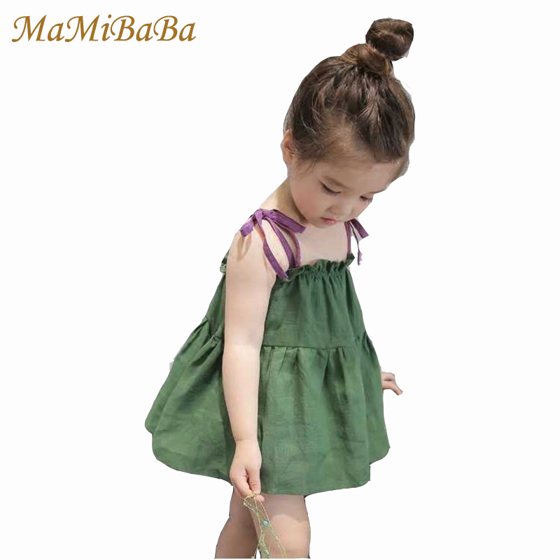 baby Girls Dresses 2018 New Fashion Summer Solid Cotton Knee-length Green Kids Dress Casual Cute Children Clothes Fd016 korean children dress girls summer 2015 new short sleeved knee length kids clothes princess pure grey ruched dresses page 2