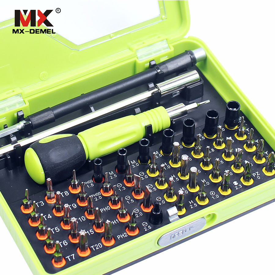 MX-DEMEL 53 in 1 Multi-purpose di Precisione Magnetico Set di Cacciaviti Elettrici Utensili A Mano delle Famiglie Set Bit Telefono PC Repair kit