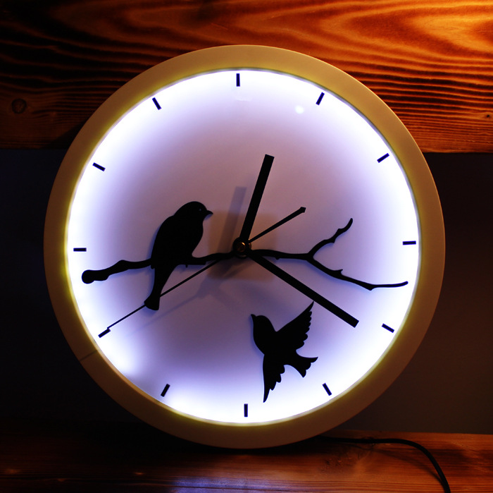 Fashion creative wall clock 30cm led lights luminous art wall clock fashion creative wall clock 30cm led lights luminous art wall clock desk office study wall clock decorative mirrors in decorative mirrors from home garden aloadofball Image collections