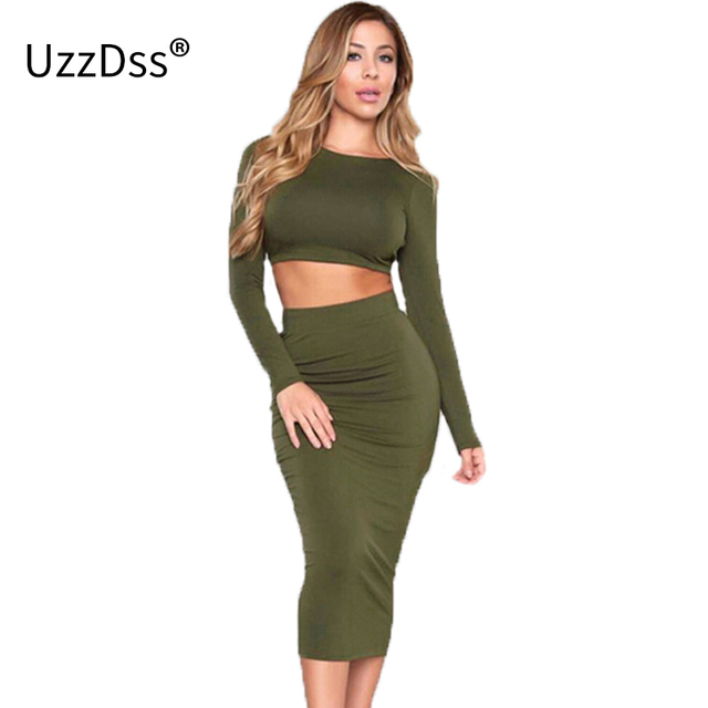 d91572885a 2018 Spring Summer Style 2 Piece Crop Top Long Sleeve Women Dress Two piece  Backless Party