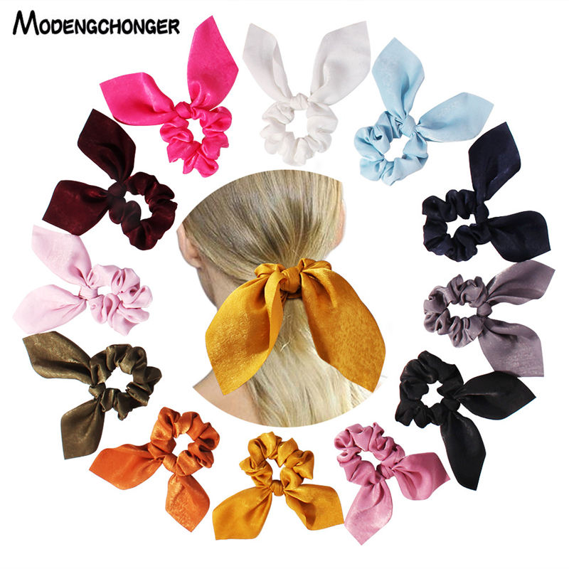For Women Pure Color Hair Band Rabbit Ear Bow Pearl Hair Rope Silk Satin Ponytail Scrunchie Hair Tie Girls Gum Hair Accessories in Women 39 s Hair Accessories from Apparel Accessories