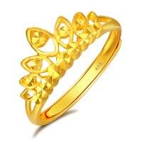 Твердое кольцо из желтого золота 24 K женское кольцо с короной 3,38g
