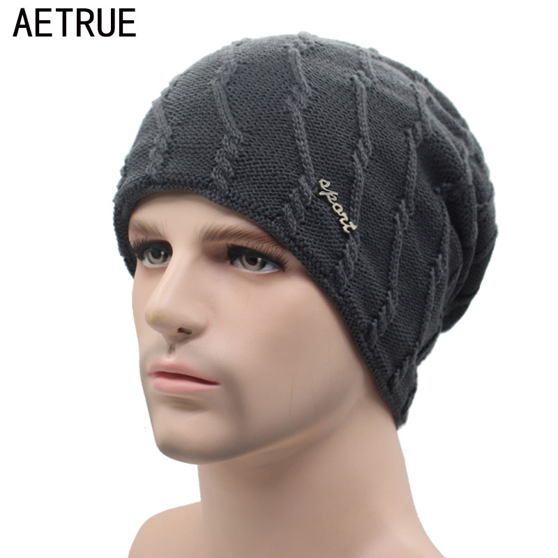 AETRUE Knitted Hat Winter Beanie Men Women Caps Warm Baggy Bonnet Mask Wool Blalaclava Skullies Beanies Winter Hats For Men Hat