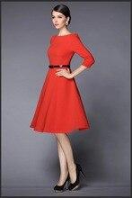 European and American Elegant Dress Three Quarter Sleeve
