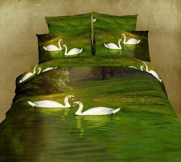 3d Green Swan Lake Aqua Water Bedding Set King Queen Size