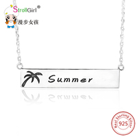 Coconut Tree 925 Sterling Silver Letters On Rectangle Necklaces Pendant For Women Silver Customized Accessories Jewelry
