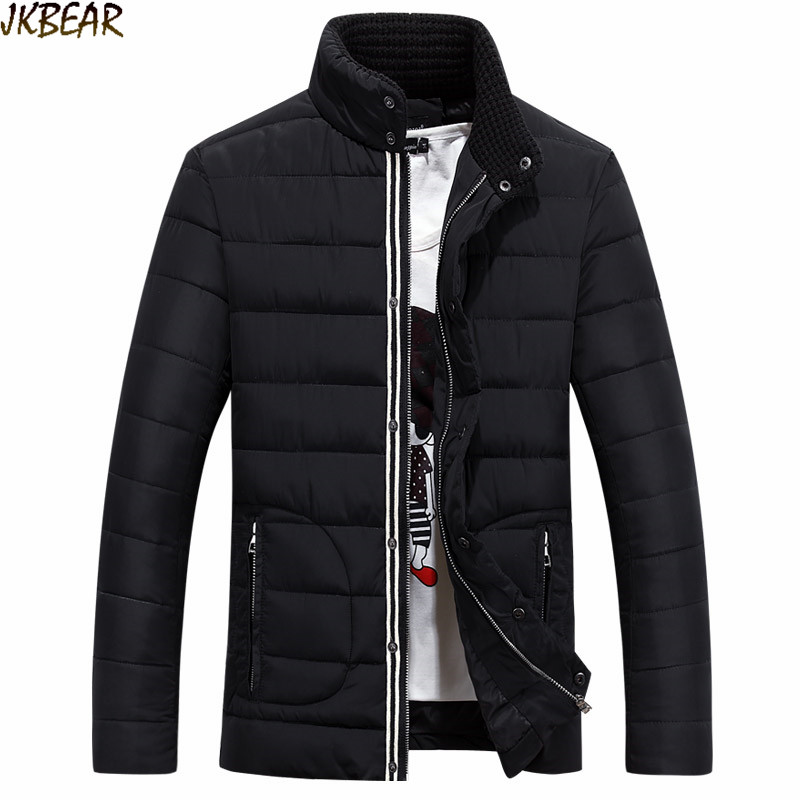 Trendy Knitted Stand Collar Quilted Puffer Jacket Coats for Men 2016 Autumn Winter Male s Windcheater