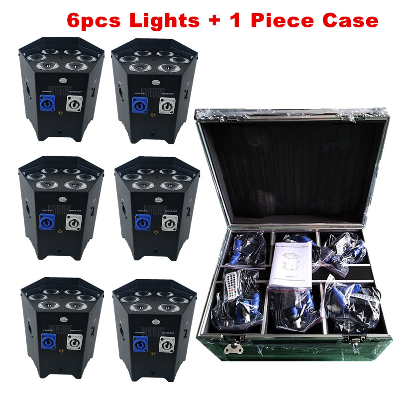 Free Shipping Night Club freedom Lighting 6x18W RGBWAUV 6in1 Battery Powered Stage Lights Wireless DMX Led Par Led Uplights