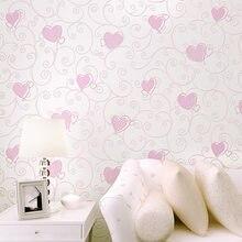3D розовый сердце любовь мультфильм принцесса девушка комната Задний план стены Бумага roll 3D тиснением стекаются нетканые дети покрытия стен бумага