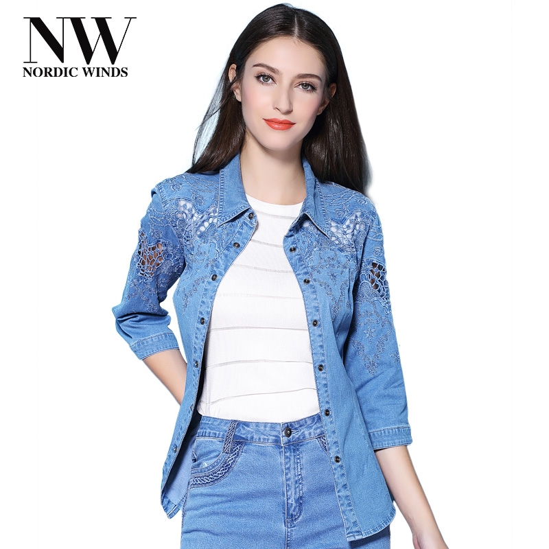 Women Tops And Blouses 2018 Elegant Denim Shirt Women's Clothing Plus Size 4XL Lace Hollow Out Embroidery Jeans Blouse Female mara alee women lace blouses off the shoulder tops black shirt blusas plus size women clothing mesh tops summer we943