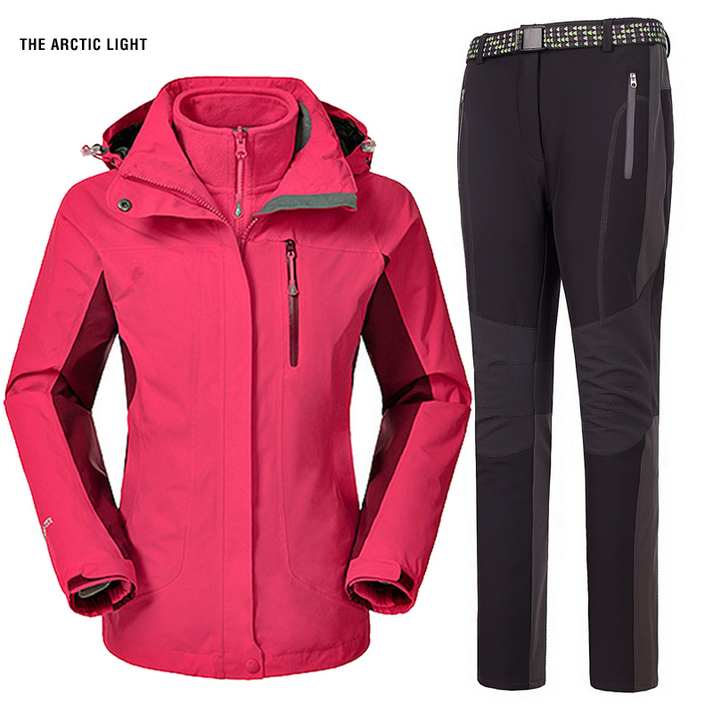 Ski Jacket And Pants Suit Waterproof Windproof Thermal Thicken Coat And Trousers Set 2017 Hiking Camping Climbing Winter Women  winter jackets thermal thicken jacket outdoor sports ski jackets camping coat waterproof windproof climbing jacket for mans