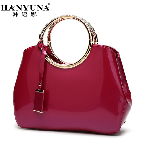 HANYUNA BRAND New Fashion European Patent font b Leather b font Women font b Handbags b